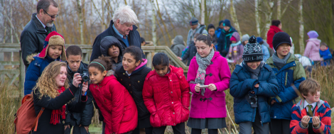 Stanley Johnson and Bob Bloomfield join children for the launch of Hot Water